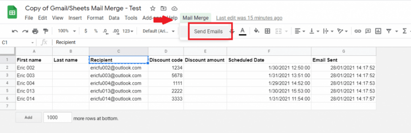 sending email with mail merge