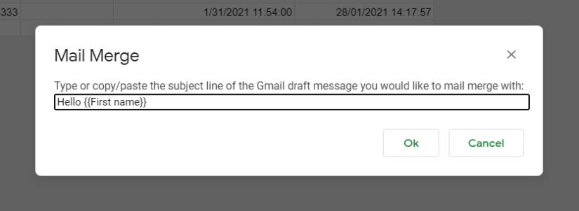 inputting subject line