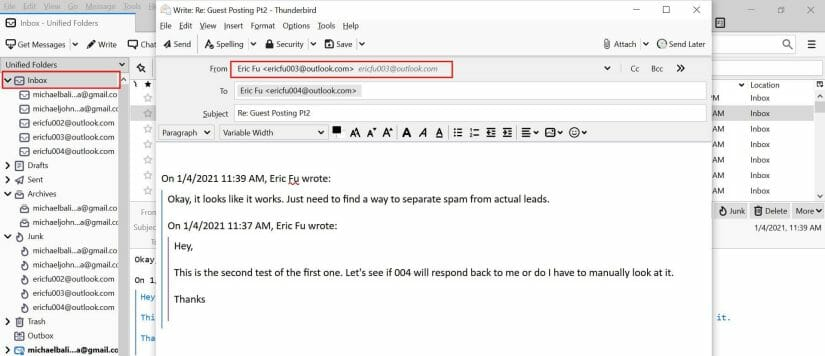 Respond with the right email address