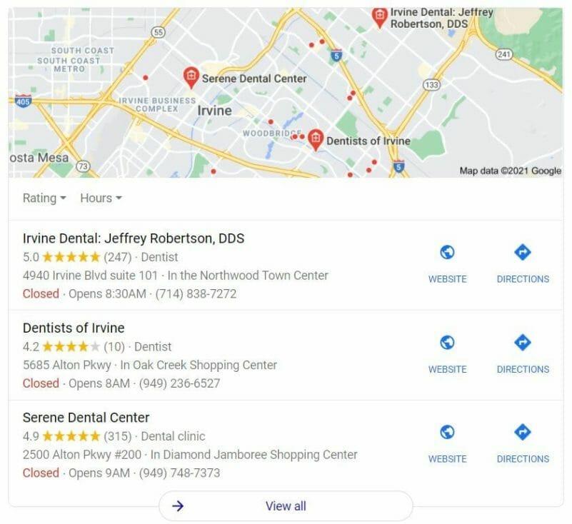 marketing plan top dentists google map pack