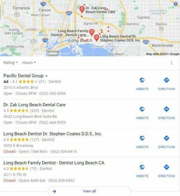dental marketing strategy google map pack