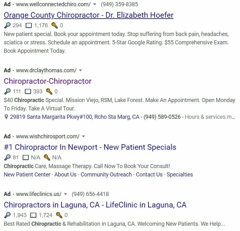 growing a chiropractic practice google results