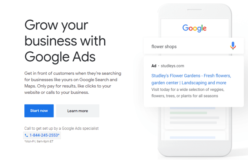 Google PPC homepage