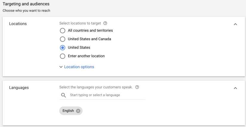 Location and Language settings