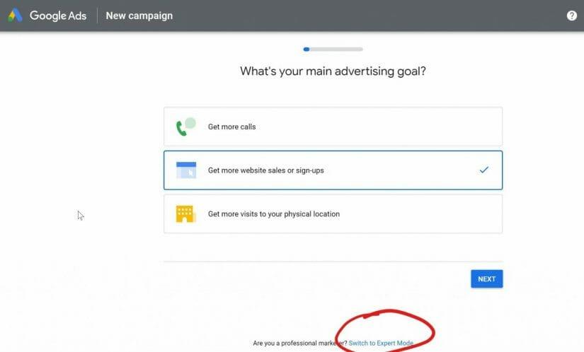 google-start-expert-mode