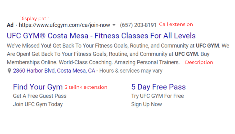 Example of an ad for gyms