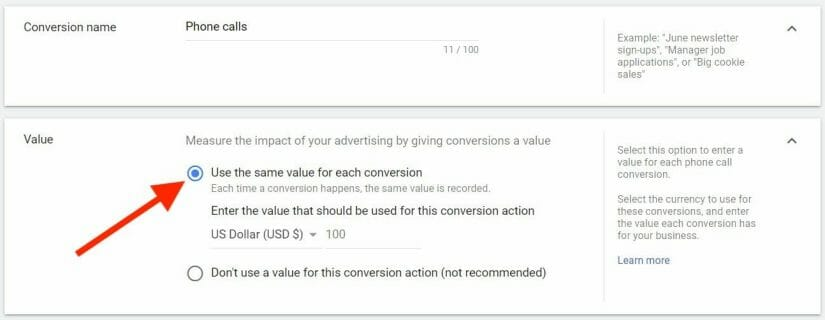 Value of Each Conversion