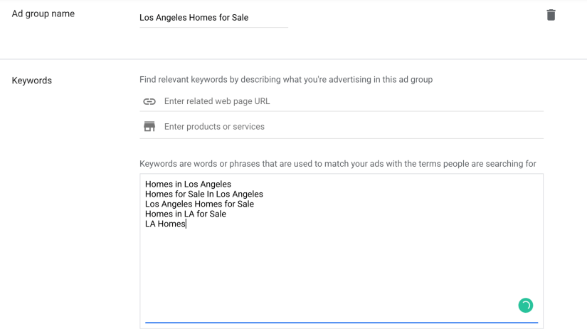 Create d group name and enter desired keywords.