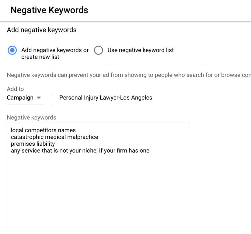 add negative keywords in the box provided for attorneys