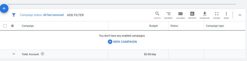 select blue new campaign to begin google ads for real estate agents