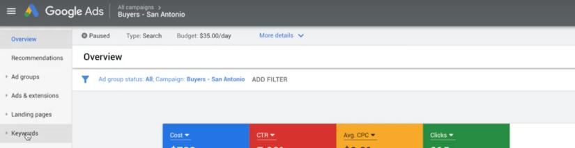 google ad campaign keywords