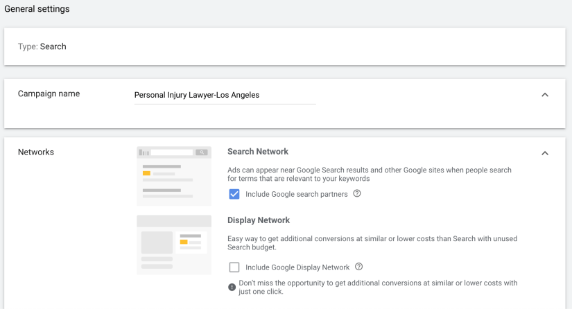 create campaign name and select search network only.