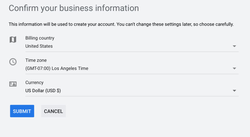 confirm business information