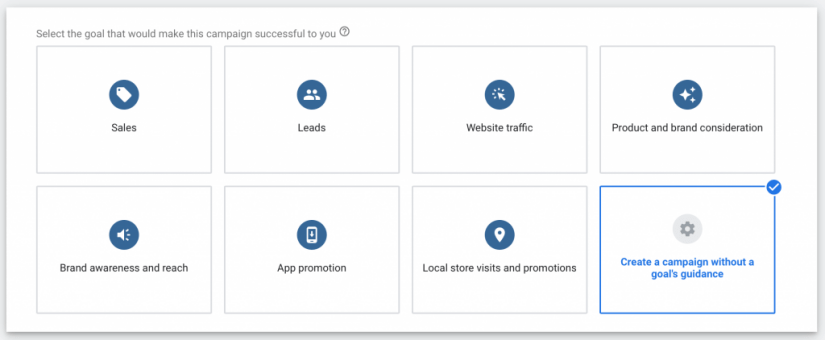 select create a campaign with a goals guidance to start your google ads