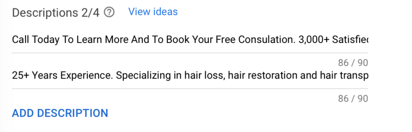google ads description for hair transplants