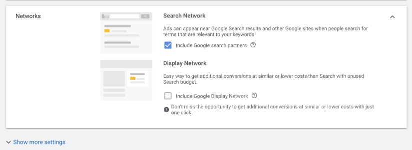 keep search network, deselect display network