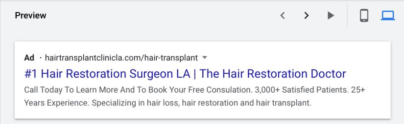 google ads for hair restoration and transplants desktop preview