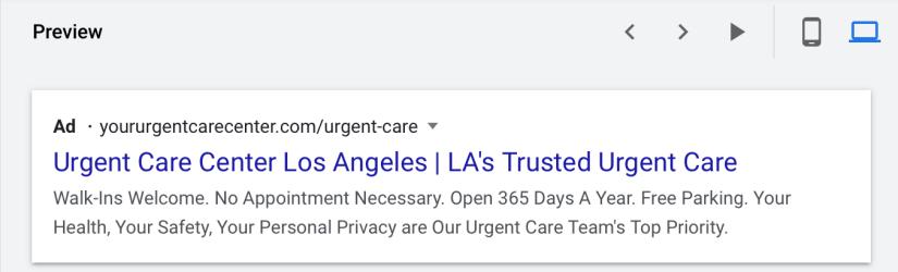 google ads for urgent care centers desktop preview