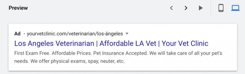 desktop preview of google ads for veterinarians