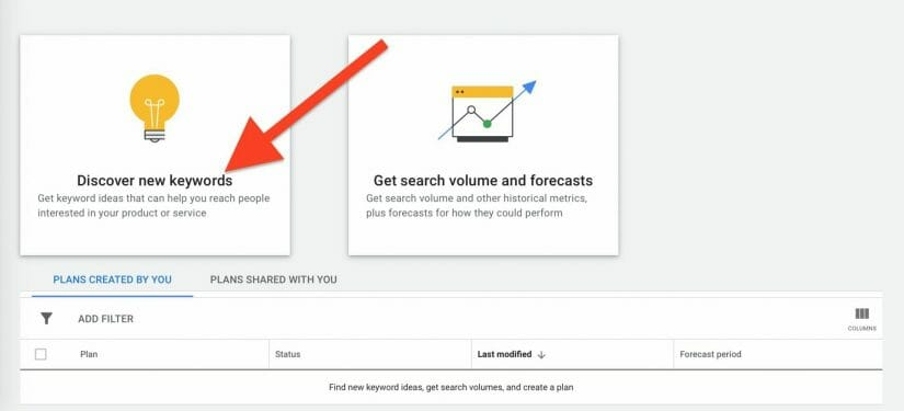 "select ""discover new keywords"" box"