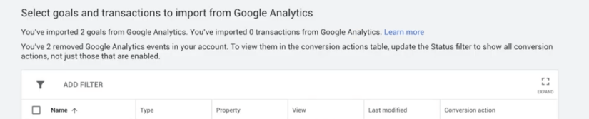 import goals and transactions from google analytics