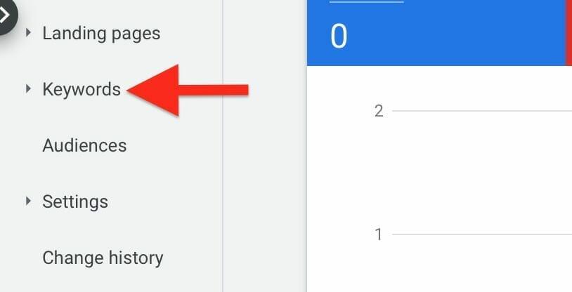 click on keywords tab