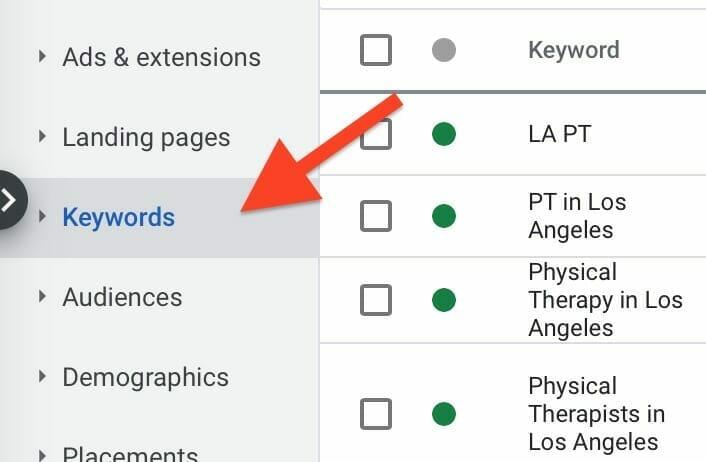 keywords tab on google ads