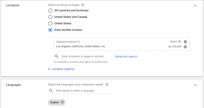 select the location to target and language your audience speaks