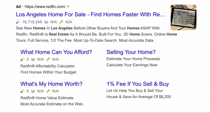 Redfin ad extension example.