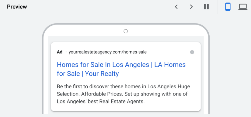 google ads for real estate agents mobile preview