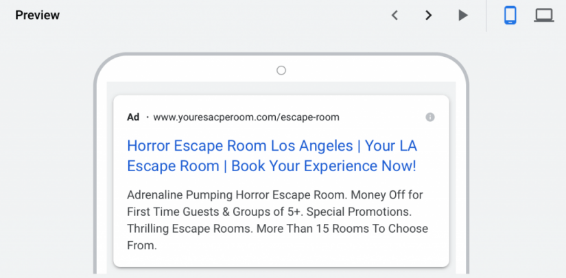 mobile preview of google ads for escape rooms campaign