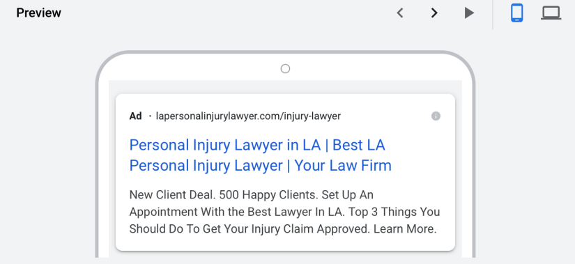personal injury lawyer mobile ad preview