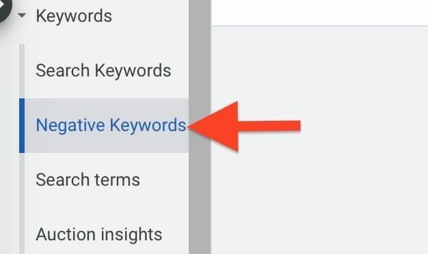 select negative keywords tab on left