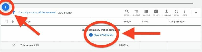 select new campaign to start your google ads for hair restoration and transplants campaign