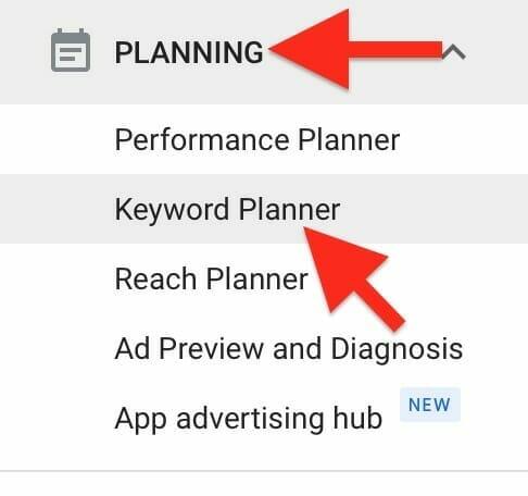 under planning, select keyword planner