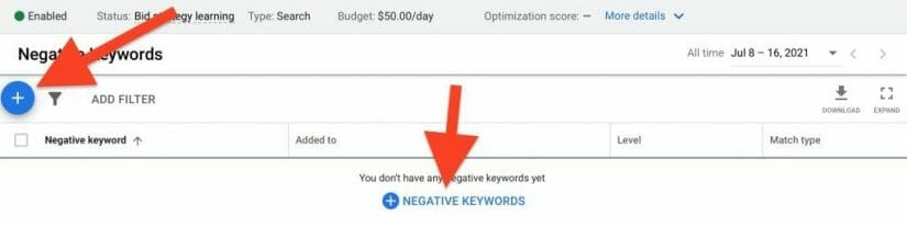 click plus sign to add keywords to list