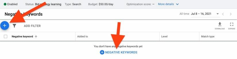 click blue plus sign to add to negative keyword lists