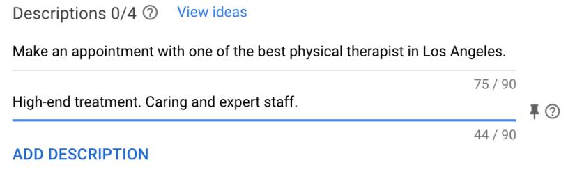create ad descriptions