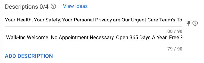 google ads for urgent care centers description example