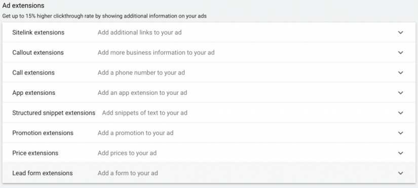 include any ad extensions to apply to your ads