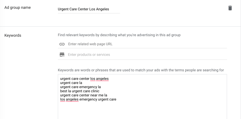 create ad group name and add keywords for your google ads for urgent care centers