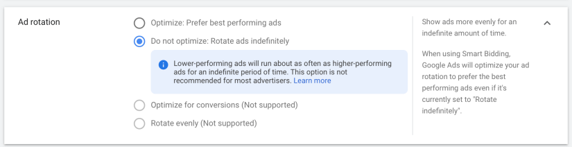 """Select """"Do not optimize. Rotate ads indefinitely""""."""