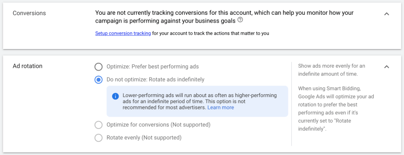 conversion tracking and ad rotation