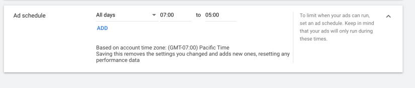 implement google ads schedule