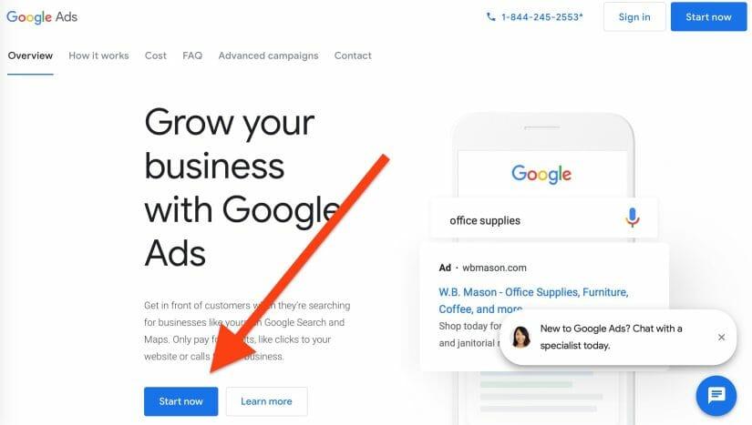 google ad start now