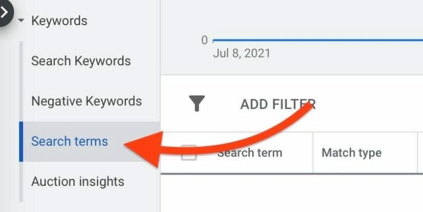 search terms tab under keywords