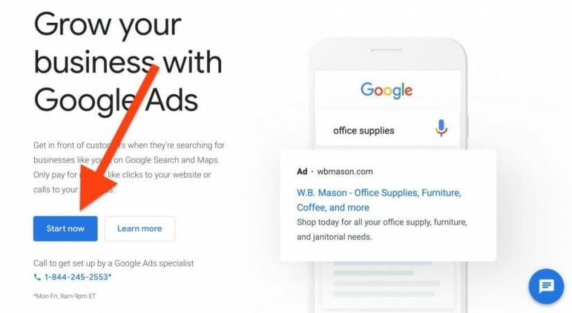 choose start now to create your ads account
