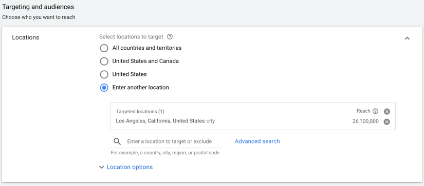 set ad location for google ads to run
