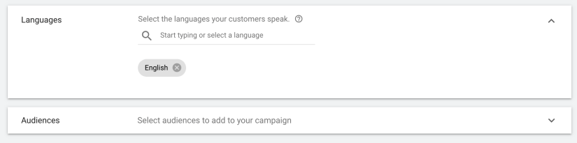select language for google ads and do not change audience settings