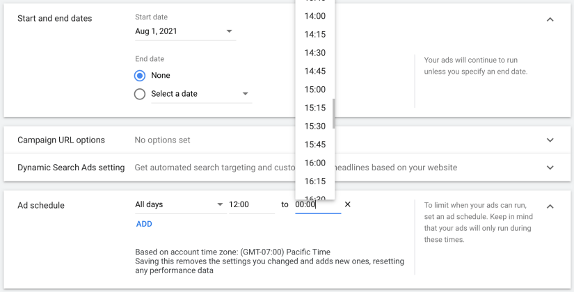 set start and end dates of campaign and create ad schedule for your google ads for urgent care centers campaign
